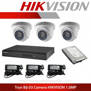 bộ 3 camera 1.0 mp hik vision
