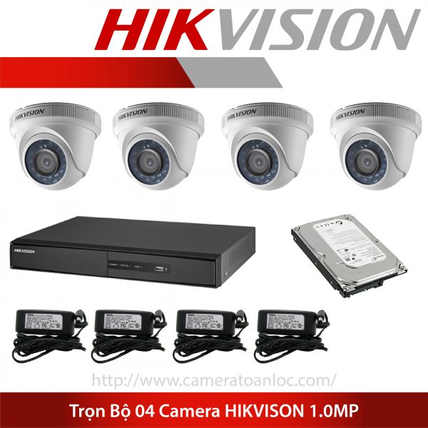 bộ 4 camera 1.0 mp hik vision