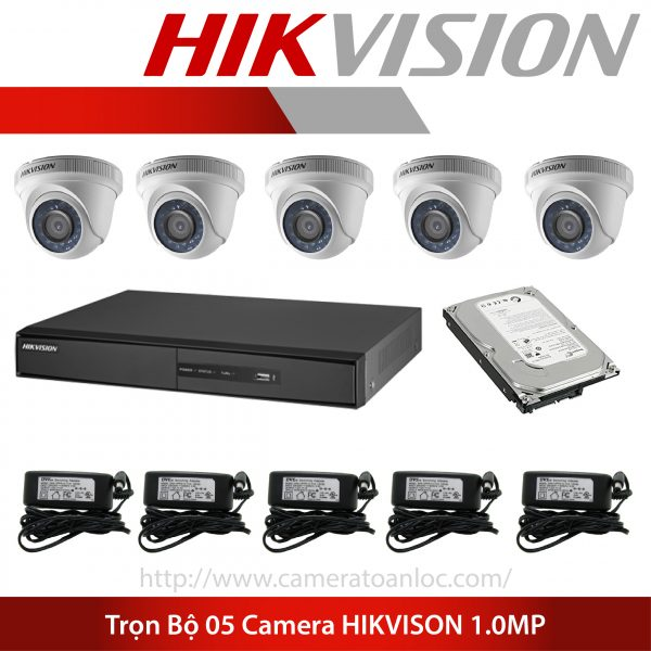 bộ 5 camera 1.0mp hik vision